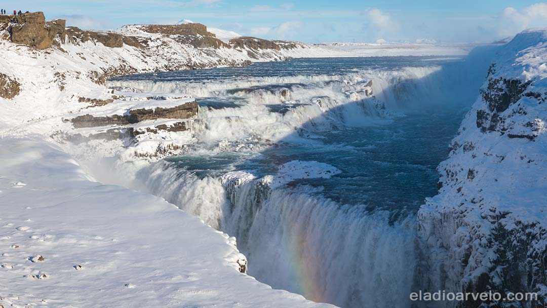 Rainbow appears at Gullfoss.