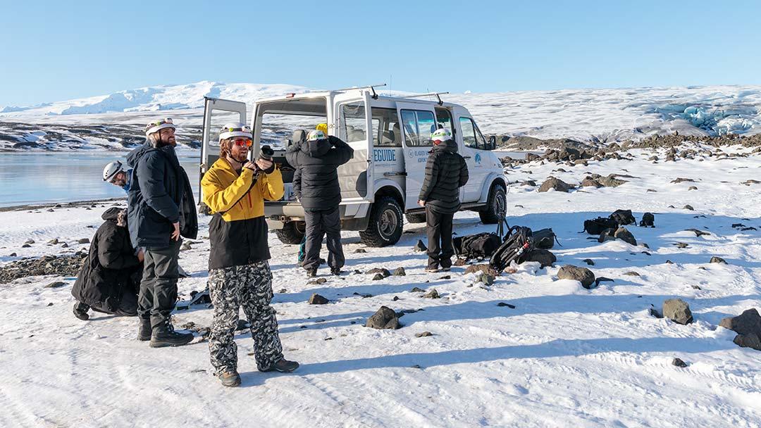 Preparing to explore ice caves at Vatnajokull National Park.