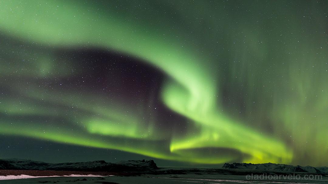 Wide shot of Northern Lights.