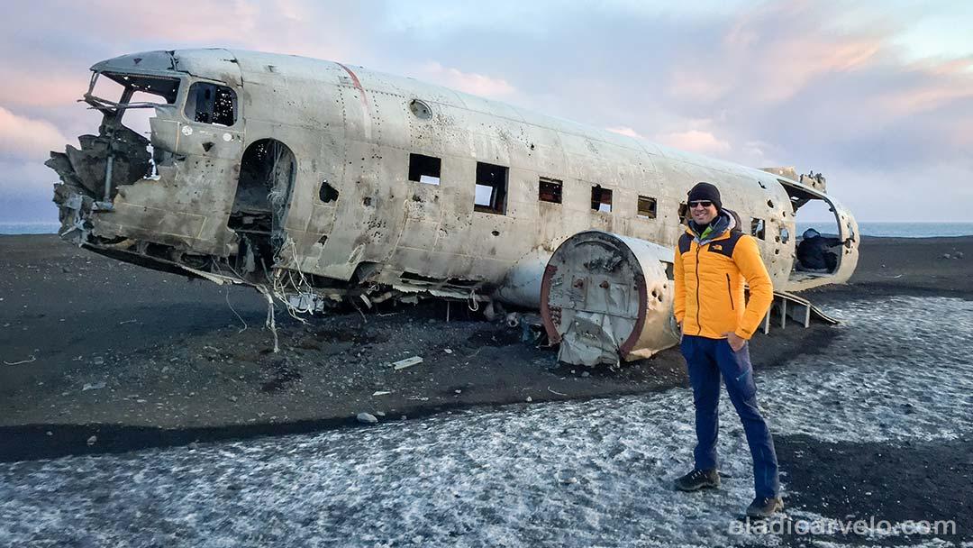 Standing by Solheimasandur plane wreckage.