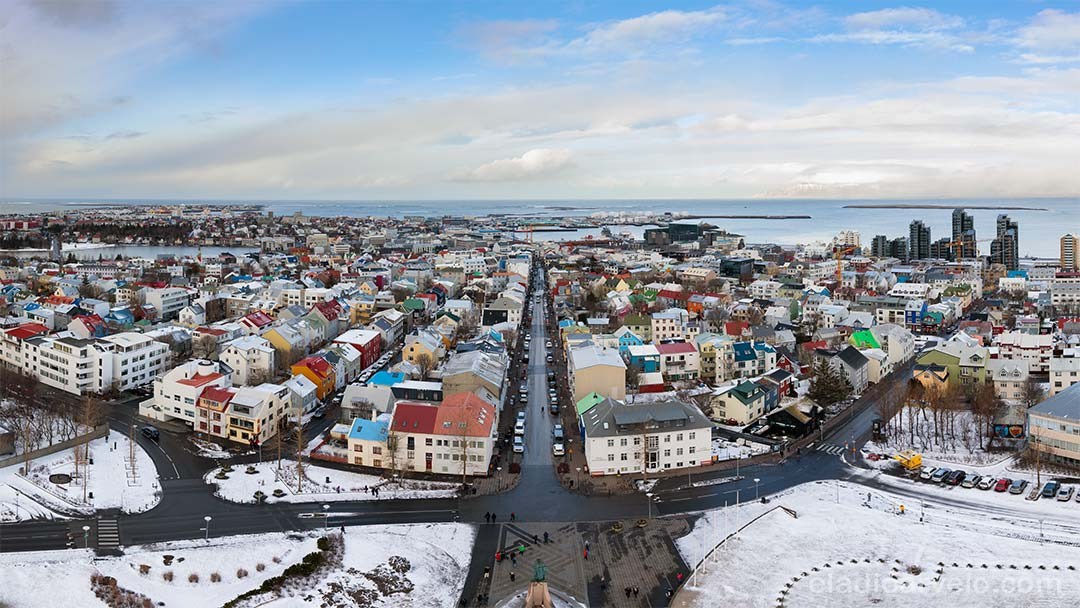 Panorama of Reykjavik from the top of Hallgrimskirkja.