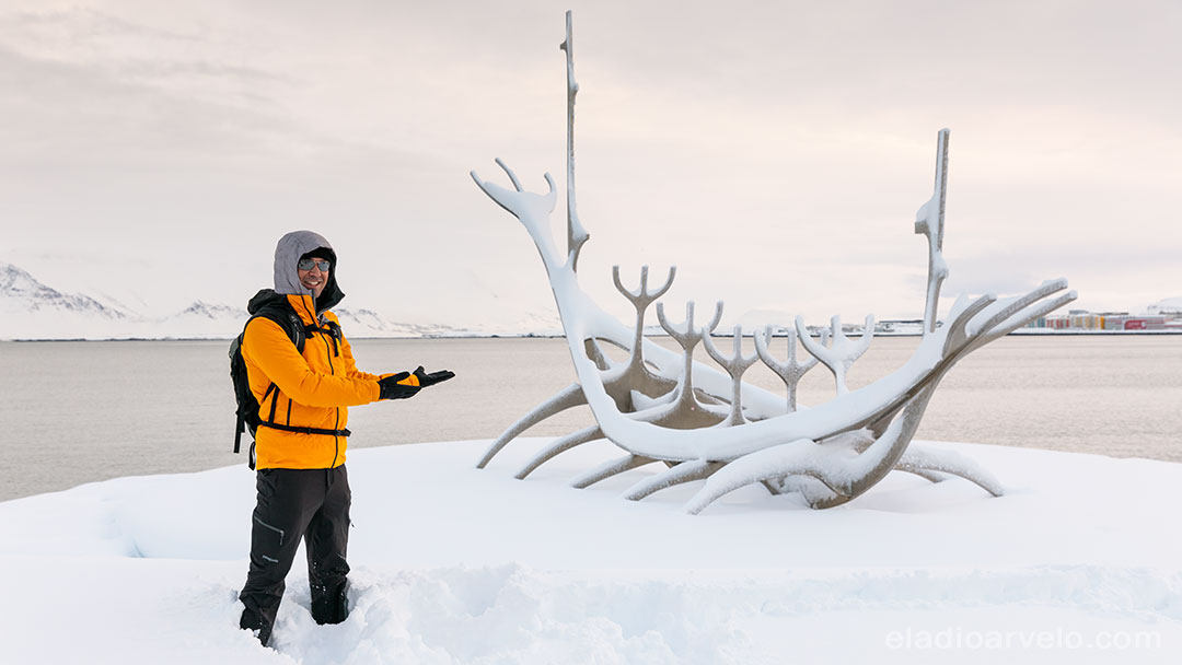 Sun Voyager monument covered in snow.