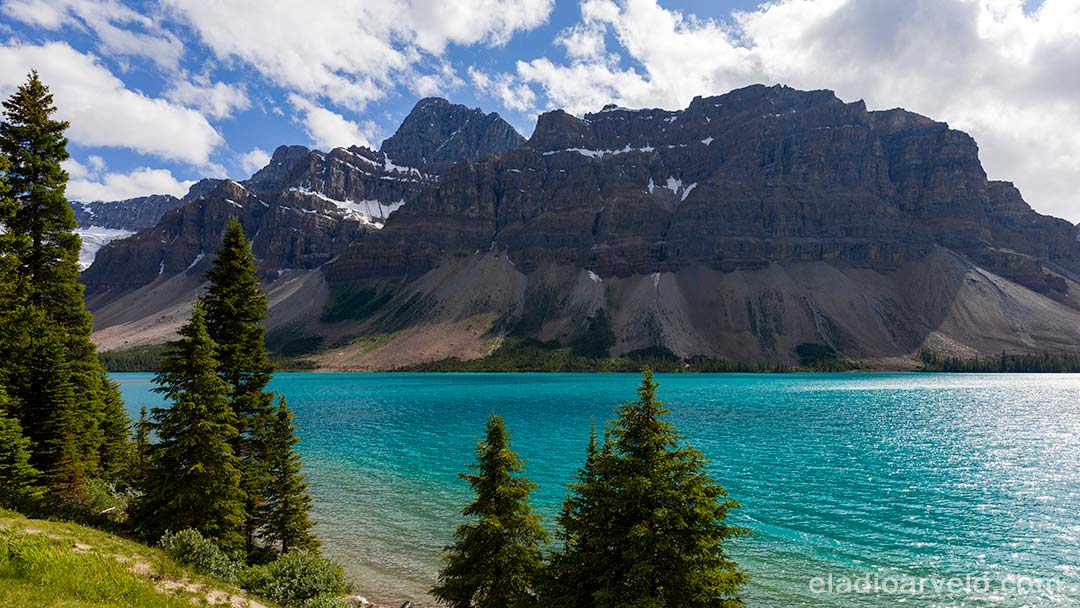 First glance of the gorgeous water color at Bow Lake.