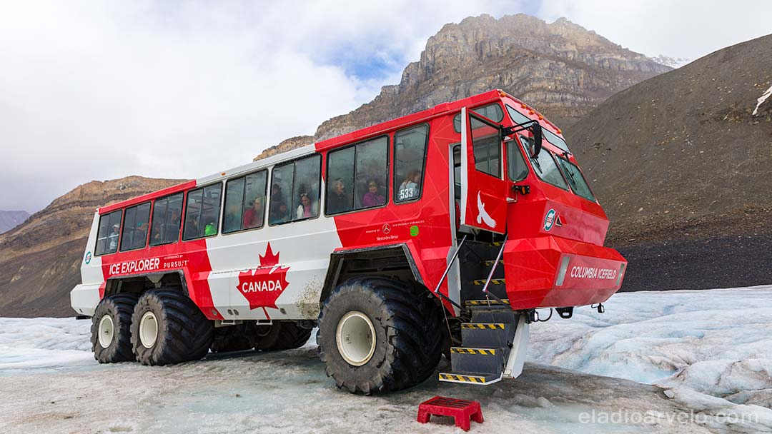 Riding on the Ice Explorer to visit a glacier along Icefields Parkway.