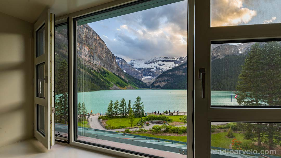 View from our room at the Fairmont Chateau Lake Louise.