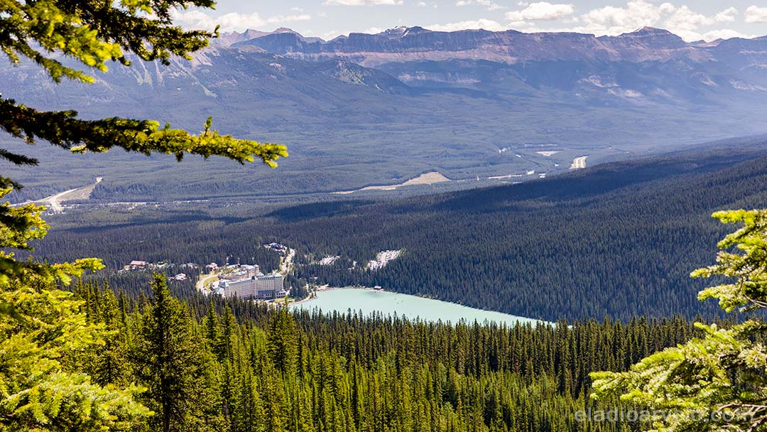 View of Fairmont Chateau Lake Louise from hiking trail.