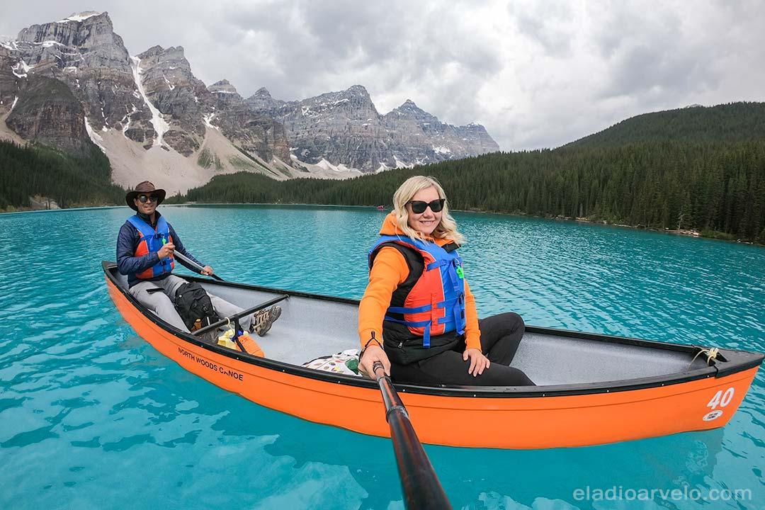 Eladio and Irma canoeing on Lake Moraine.