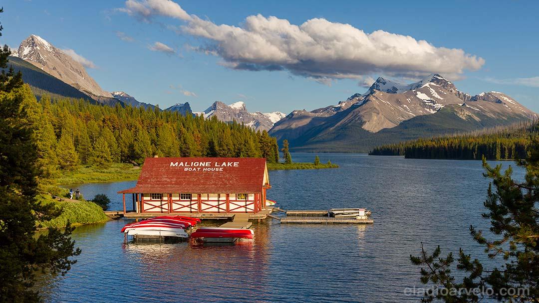 Maligne Lake Boat House at Jasper National Park.