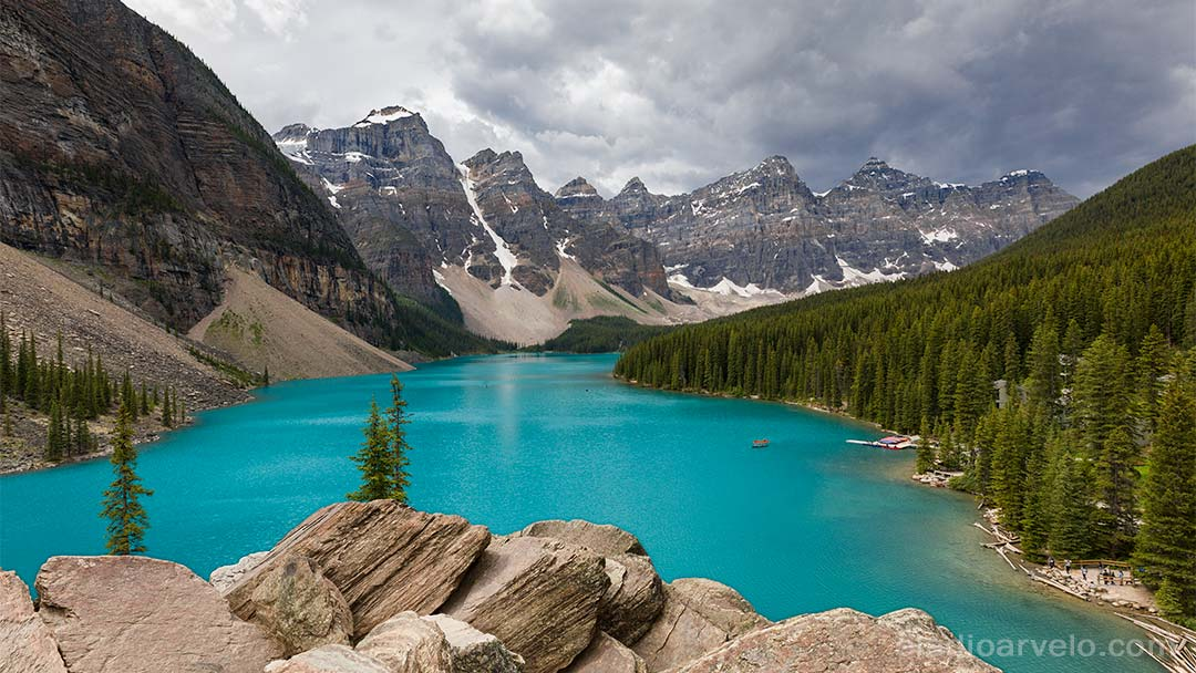 Stormy skies over Moraine Lake in Banff National Park.