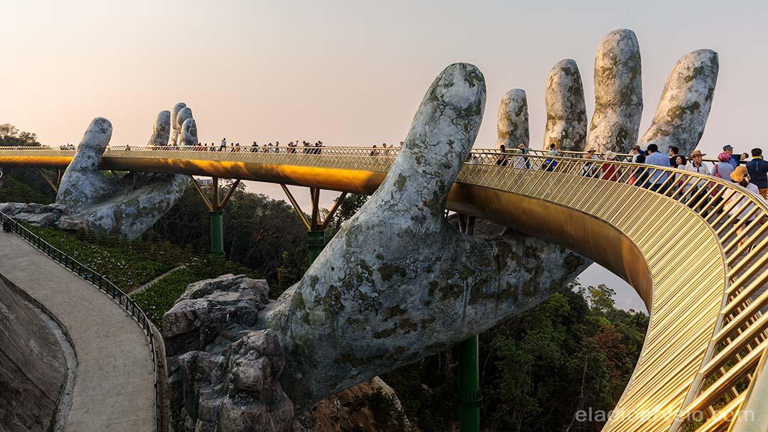 The iconic Golden Bridge in the Ba Na Hills resort near Da Nang.