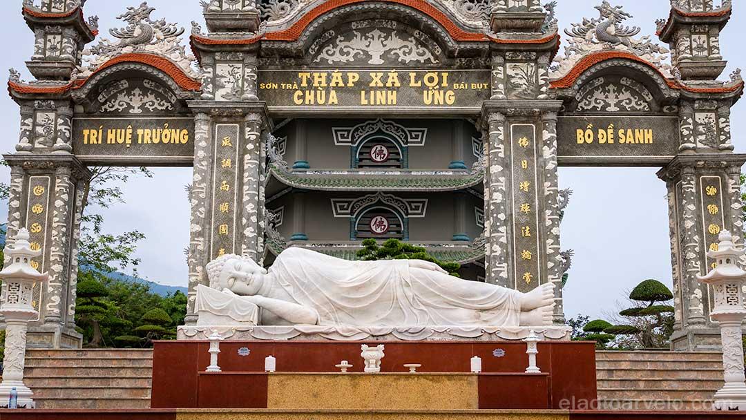Reclining Buddha in the Linh Ung Pagoda in Da Nang.
