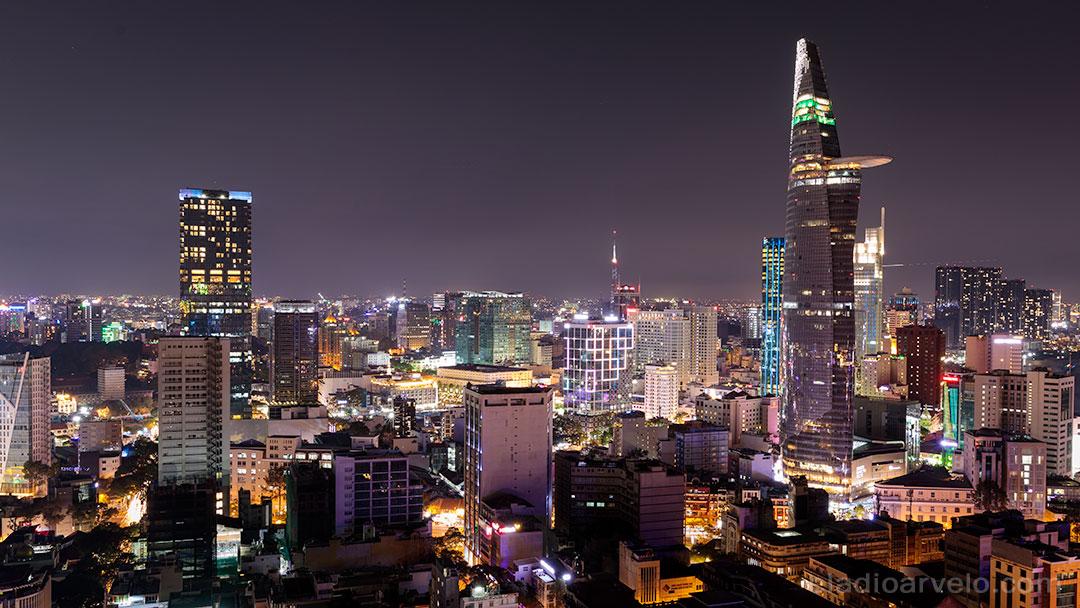 Ho Chi Minh City skyline at night time.