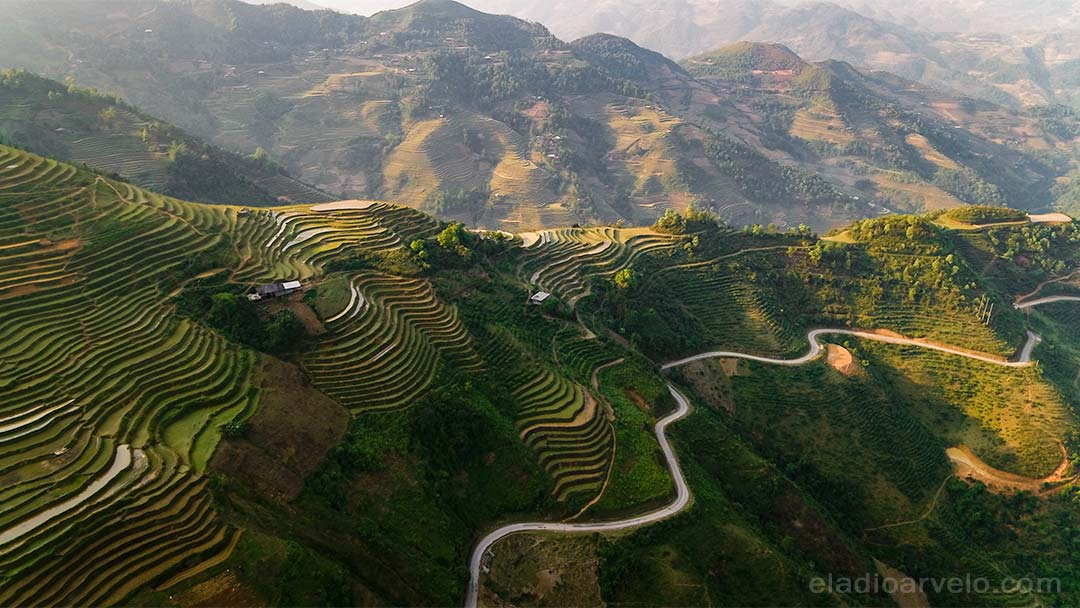 Agriculture fields in the mountains of Ha Giang.