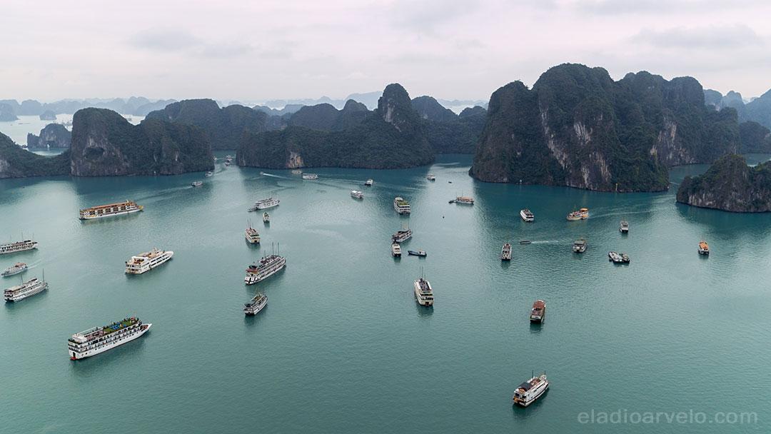 Cruising ships in Ha Long Bay.