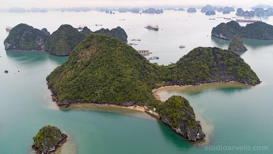 Aerial panorama in Ha Long Bay.