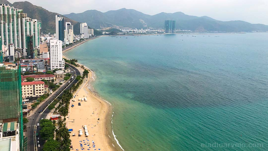 Nha Trang coastline as seen from our hotel room.