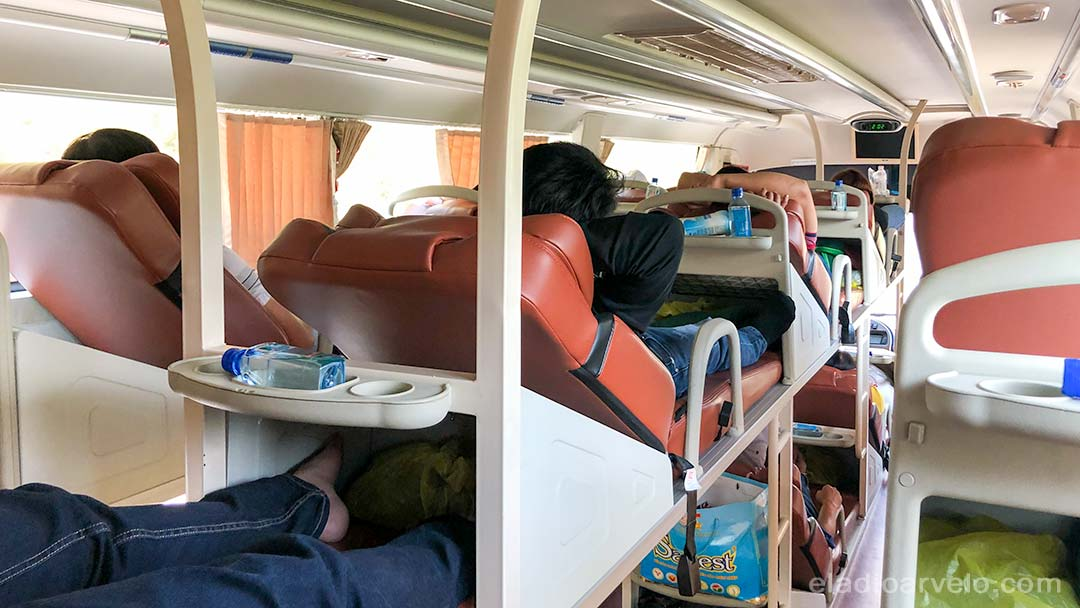 Inside view of a sleeper bus used to travel between cities in Vietnam.